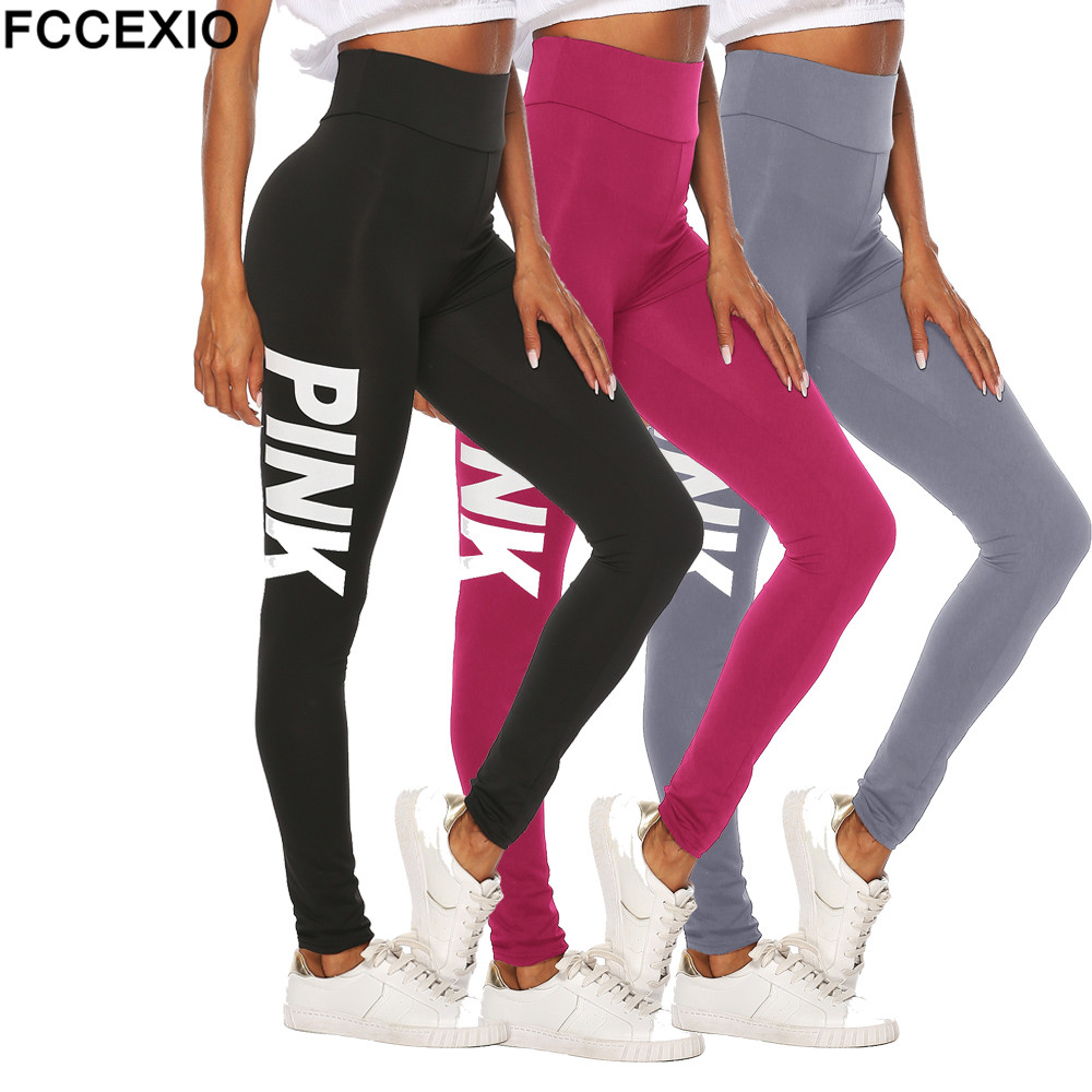 FCCEXIO 3 Style Love Pink Fitness Elastic High Street   Leggings   Women Workout   Legging   High Waist Sporting Patchwork Women   Legging