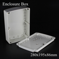 (1 piece/lot) 280x195x86mm Grey ABS Plastic IP65 Waterproof Enclosure PVC Junction Box Electronic Project Instrument Case