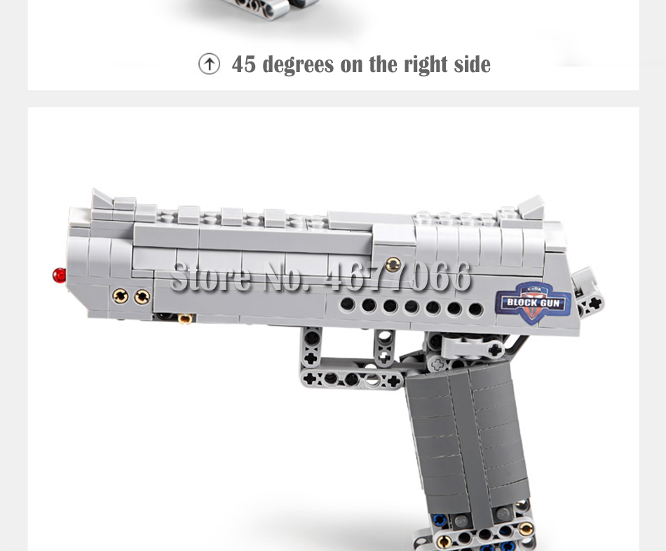Building Blocks Toy Kit Desert Eagle toy gun for boys fire bullets Technic  DIY bricks Pistol UZI toys for children kids 40