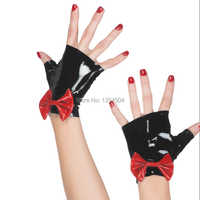 2019 Sexy cute Hot New Gothic Sexy Women short Gloves Bow-knot Adult Fetish Wrist Cekc No Fingers Female Zentai Customized size