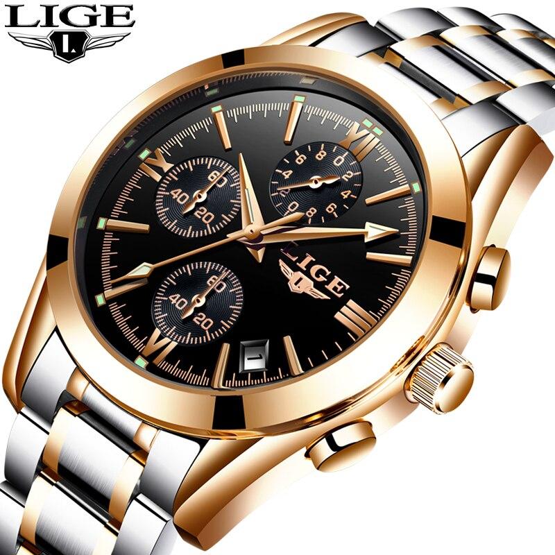 Relogio Masculion LIGE Men Top Luxury Brand Military Sport Watch Men's Quartz Clock Male Full Steel Casual Business gold watch аксессуары для укладки волос co e olive 100g