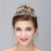 Tiara Para Cabelo Crystal Pearl Tiaras Crown Baroque Hair Jewelry Wedding Party Red Flower Head Piece