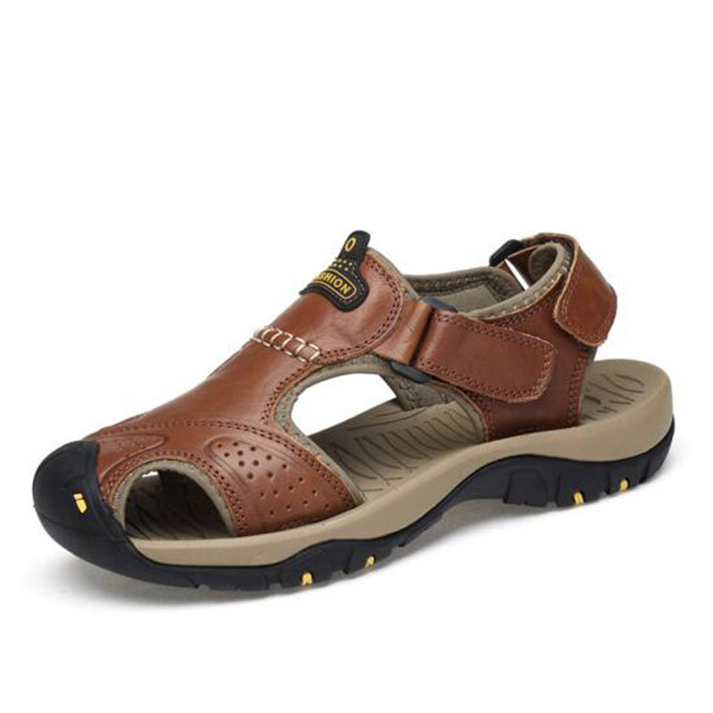 Для мужчин летние пляжные на улице носить Повседневное спортивные сандалии, одноцветное Цвет отверстие Дизайн Hook & Loop Босоножки Нескользящ... ...