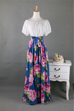Strapless maxi dress Summer Dress floral print Elastic Waist Bohemian Beach Dresses slash neck Cotton Vintage dress vestidos