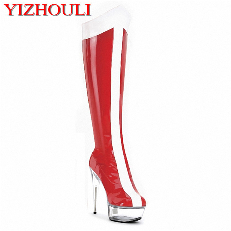 Fashion Women Dancing Boots High Heel Shoes Sexy Boots 15cm Crystal Shoes 6 Inch Knee High Boots sexy clubbing pole dancing knee high boots 6 inch high heel shoes winter fashion sexy warm long 15cm zip platform women boots