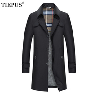 TIEPUS 2018 Fashion Winter Men 's Cashmere Warm Jacket Windbreaker Plus Size 7XL 8XL 9XL Man Jackets Solid color long Men Coats