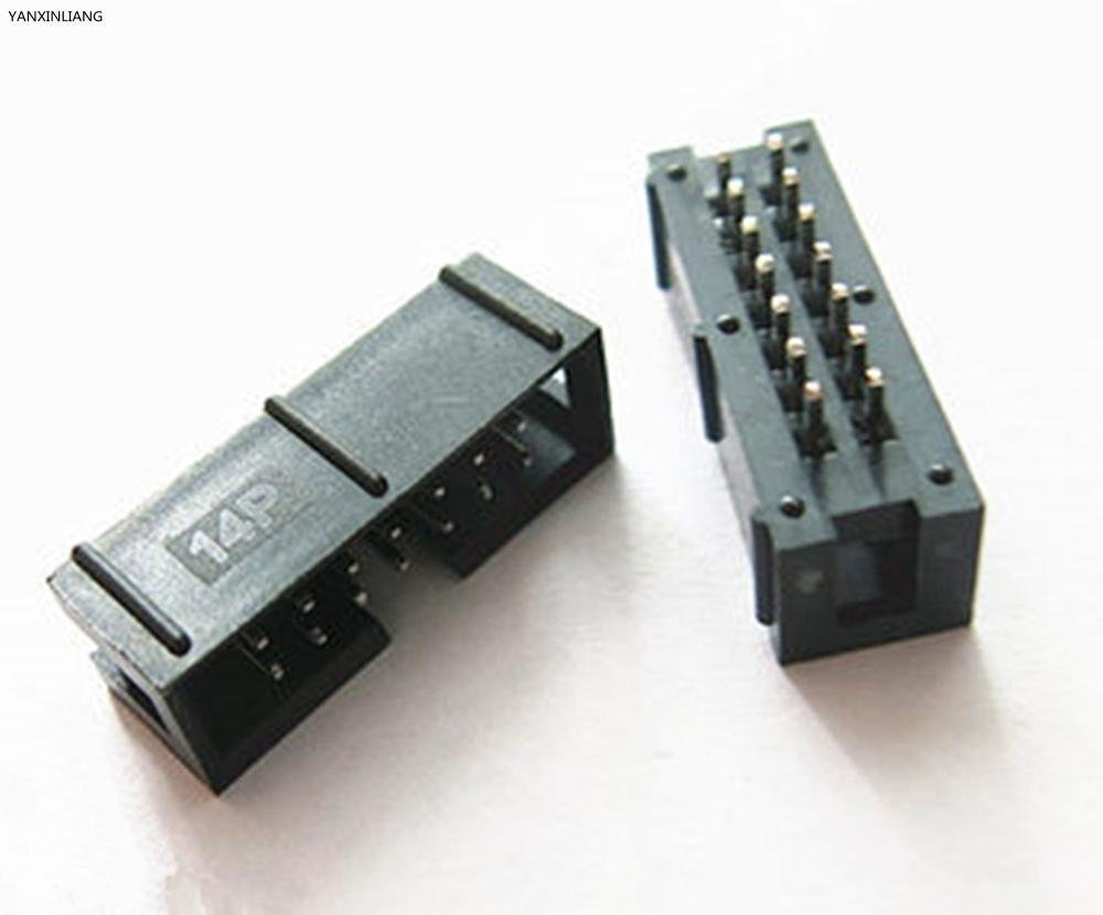 10PCS/Lot DC3 14 Pin 2x7Pin Double Row Pitch 2.54mm Double-spaced Straight Pin Male IDC Socket Box Header Connector High Quality
