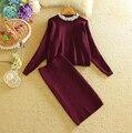 BIG SIZE Knit  Batwing sleeve Sweater Skirt Suits Women Sweet Beads Collar Knit  Crop Top Package Pencil Skirt Women's 2pcs Set