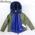 Парки Для Зимы Женщин С Реальной Большой Енот Меховой Капюшон Армии зеленый Толстая Куртка Пальто Из Меха 2 в 1 Съемная Подкладка