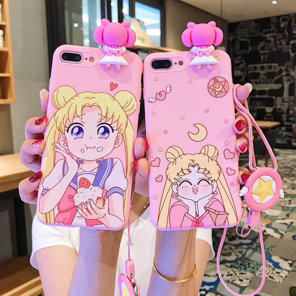 For <font><b>iphone</b></font> X Mobile Phone Cover Sailor Moon Kawaii Pink Silicone Phone <font><b>Case</b></font> With Lanyard For <font><b>iphone</b></font> 6 7 8 XR TPU Soft Cover <font><b>Case</b></font> image