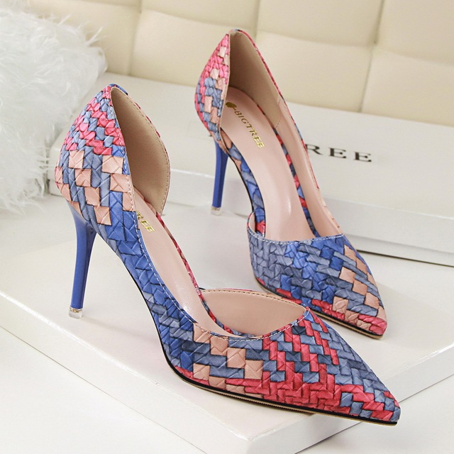 Spell Color Plaid Pattern Women Pumps 2016  Thin Heels Women's Singles Shoes Sexy  Party High-heeled Shoes  Woman  7 colors