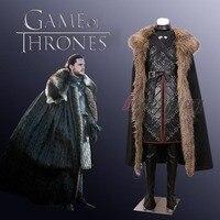 Игра престолов сезон 7 Джон Сноу косплэй костюм Старк панцири боевой Песнь Льда и Огня заклёпки форма наряд с накидкой