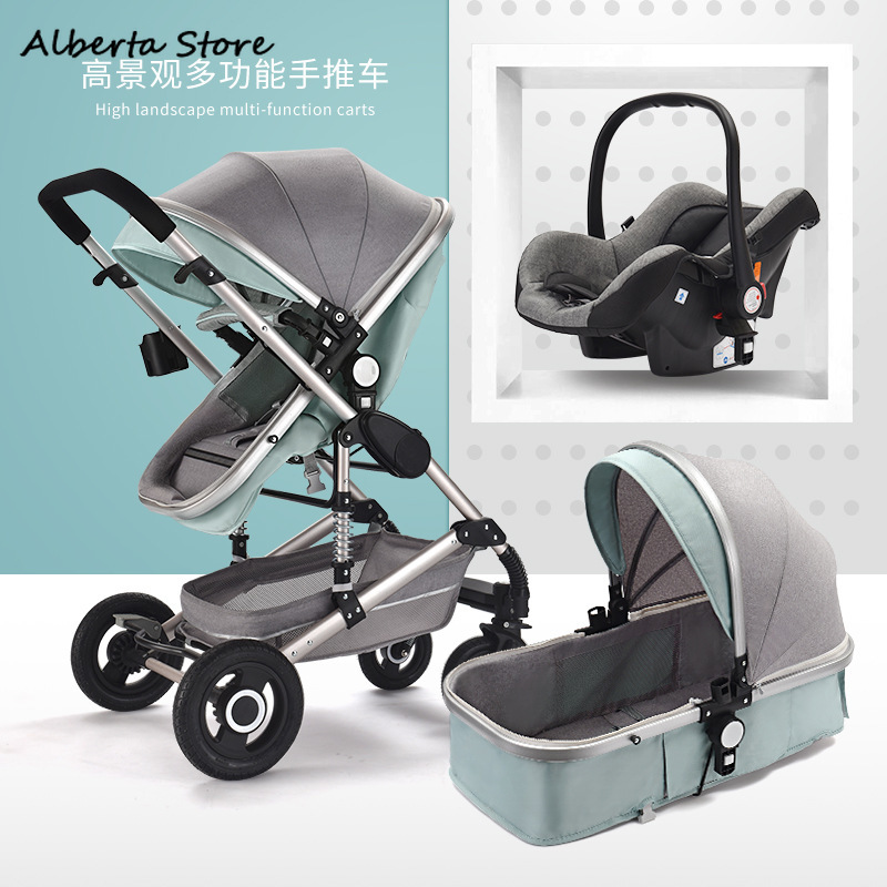 2019 New 3 In 1 Baby Four Wheels Stroller 2 Can Sit & Lie Down Aluminium Alloy Lightweight Windshield Large Space Foldable Great