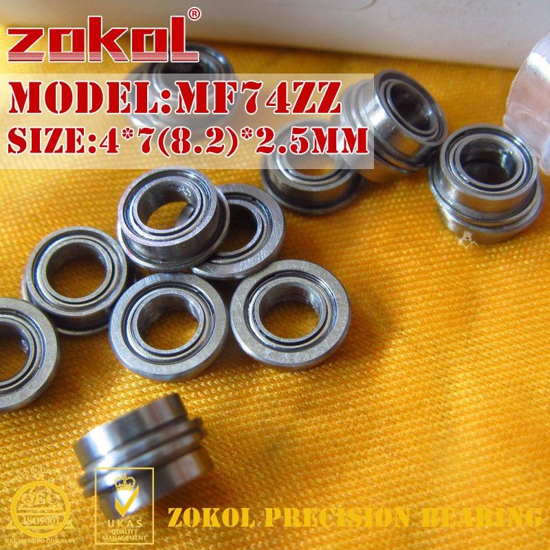 ZOKOL MF74 ZZ Bearing MF74ZZ Flange Bearing MF74-ZZ  Deep Groove Ball Bearing 4*7(8.2)*2.5mm