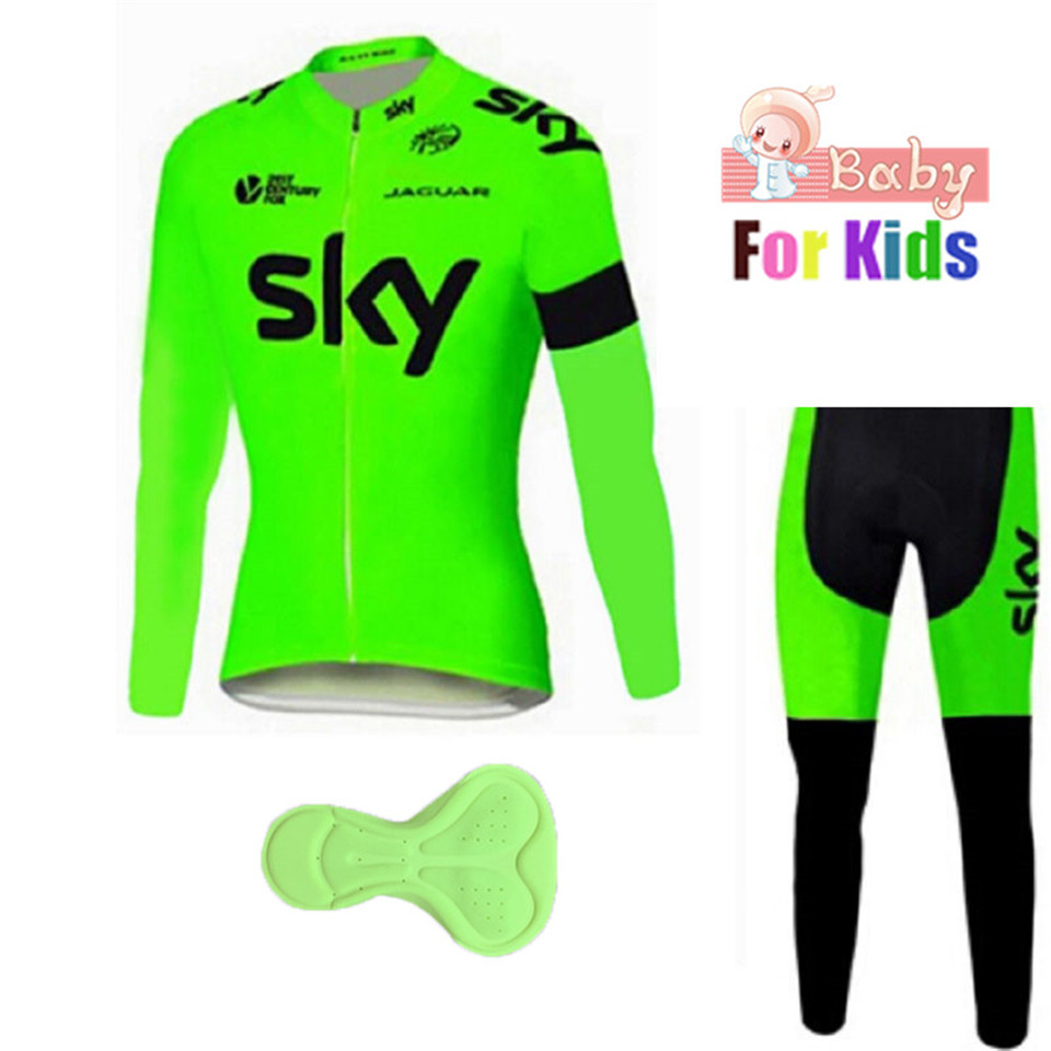 2018 kids sky Breathable long sleeve pro bike pants set Ropa Ciclismo Children cycle wear bicycle long sleeve Sportwear 2018 cycling jersey long sleeve pro bike bib pants set ropa ciclismo mens cycle wear bicycle uniformes maillot sportwear