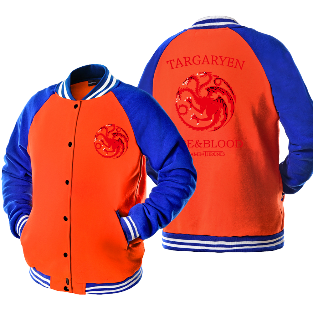 Game of Thrones Targaryen Fire & Blood Dragon Printed Bomber Jacket Men 2019 Autumn Winter Thin Male Jackets Casual Hipster Coat