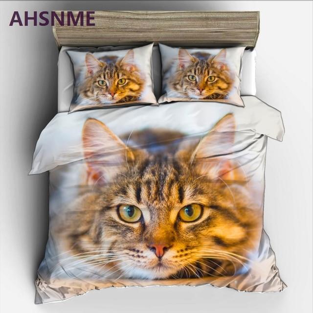 AHSNME Cute Cat Rey ropa de cama Cat on the floor High-definition Print Quilt Cover Multi-Country Size AU/UA/EU/RU Bedding