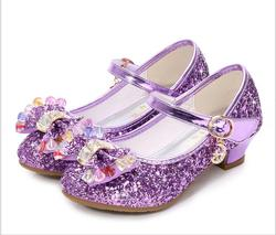 Children Princess Sandals Kids Girls Wedding Shoes High Heels Dress Shoes Bowtie Gold Leather Shoes For Girls Casual shoes