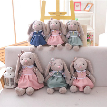 цена 1PC 30cm Kawaii Cartoon Rabbit Plush Toy Bunny With Skirt Doll Soft Stuffed Animal Doll Kids Girls Birthday Christmas Gift онлайн в 2017 году