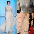 Hot Sale Heavy Beaded Floor length Chiffon and Tulle Dakota Fanning Celebrity Dresses