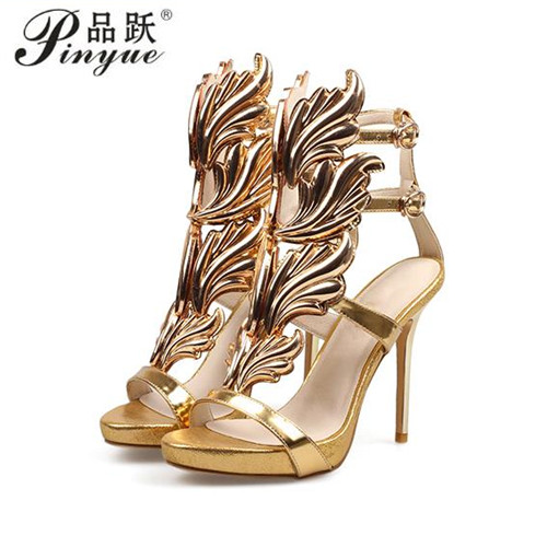 Summer Women High Heels Gold Winged Leaves Cut-outs Stiletto Gladiator Sandals Flame Party High heel Sandal Shoes Woman 16 color hot sell women high heel sandals gold gladiator sandal shoes party dress shoe woman patent leather high heels 5186 11a
