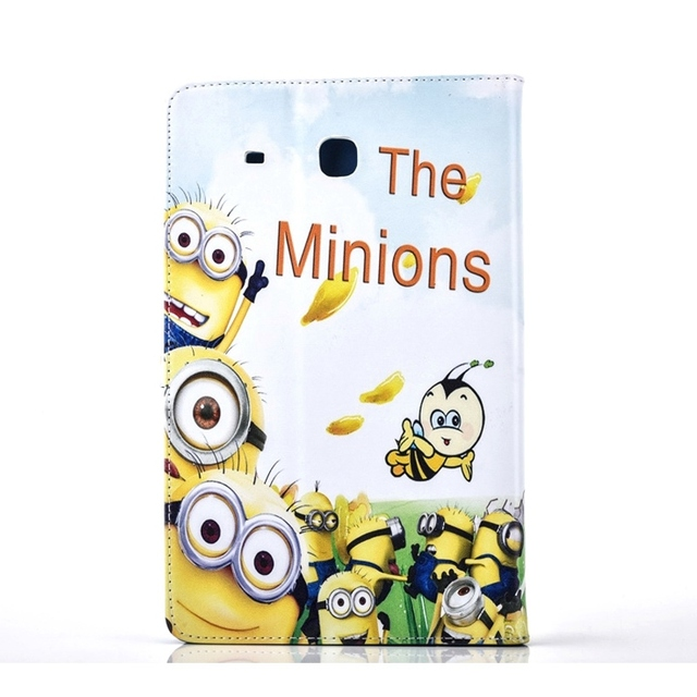 MINIONS Flip Magnetic Snap Tablet PU Leather Cover Shell for Samsung Galaxy Tab E 9.6 / T560 / T561