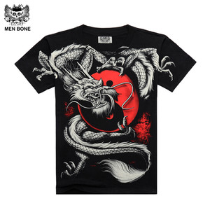 Men bone China Tai Chi T shirt Dragon Rock cotton men Tshirt Black short sleeve Black Print Heavy Metal Style sleeve