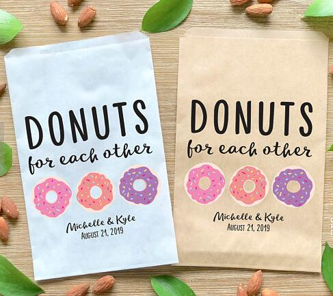Us 14 99 21 Off Customized Sweet Donuts Wedding Popcorn Candy Buffet Cookie Desserts Treat Bags Birthday Bridal Shower Gift Favors Pouches In