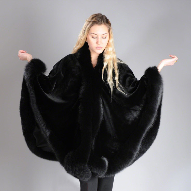 2019 BFFUR Real Fur Fox Coat For Womens Natural Mink Fur Coat Ponchos Whole Skin Covered Capes Women Winter Fashion Slim ShawlReal Fur   -