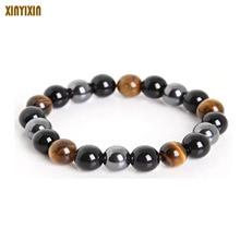 ФОТО amazon wholesale tiger eye&hematite & black obsidian 10mm stone bracelet jewelry for women gift men bracelet dropshipping