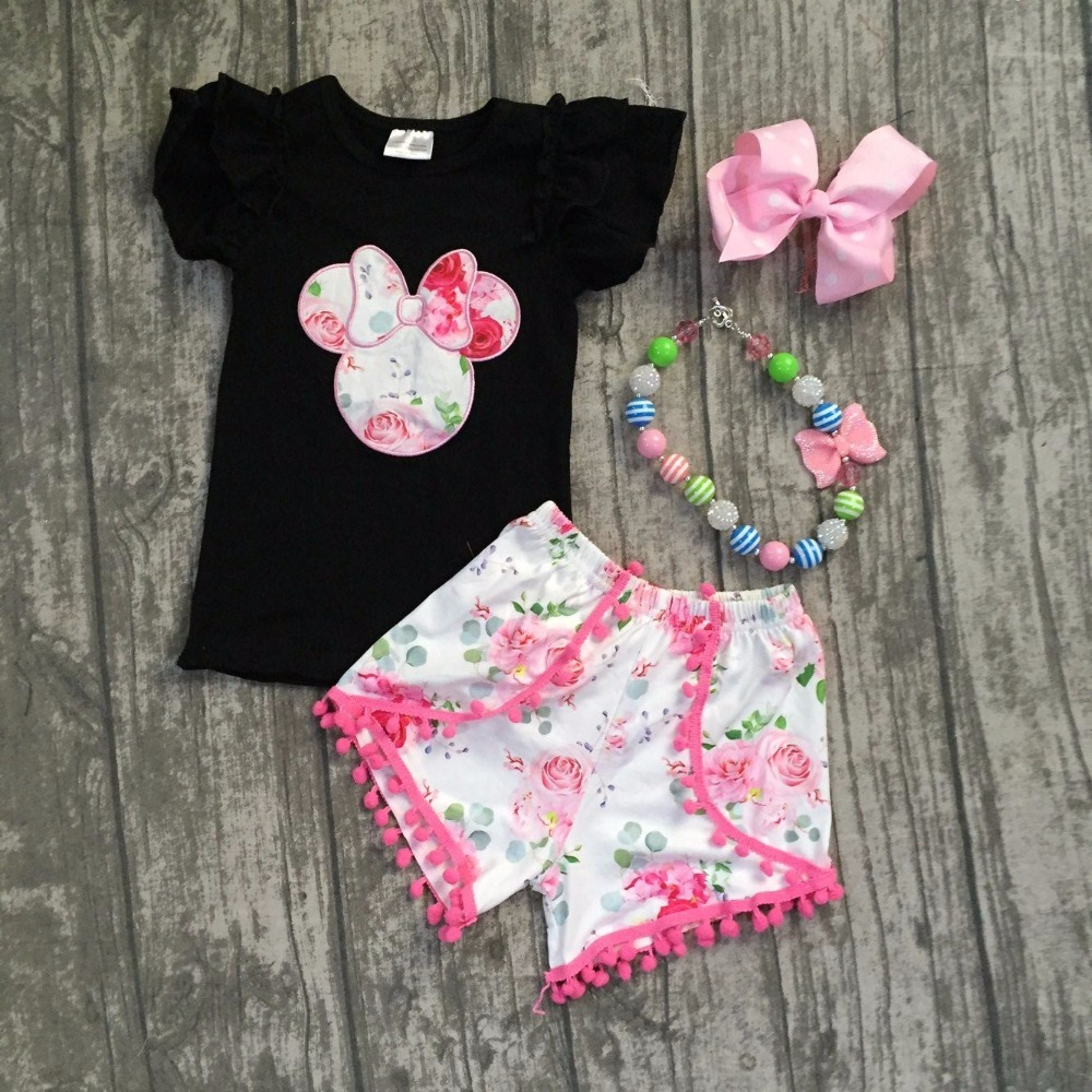 2 pieces Summer baby girls black pink pom-pom shorts flower pattern clothes boutique matching accessories off shoulder pom pom trim top with shorts