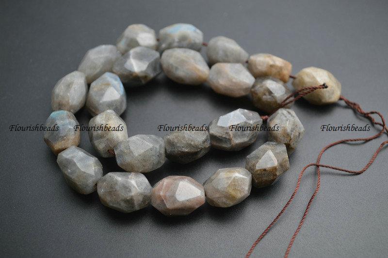 13x18mm Surface Cutting Natural Labradorite Stone Big Size Nugget Loose Beads