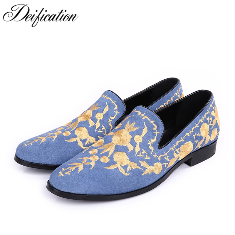 Deification Luxury Floral Embroidered Platform Shoes Slip on Creeping Mens Shoes Casual Slip-On Cow Suede Men Loafers Mocasines suede slip on mens shoes
