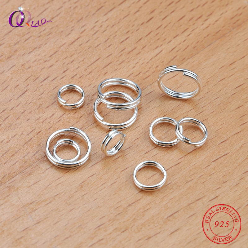 10pcs/pack 5mm 6mm 8mm 925 Sterling Silver Double Open Jump Rings Split Rings For Making Keychains & Bracelet Jewelry Findings