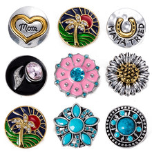 Snap button 18 mm metal snaps for snaps bracelets fit ginger snaps jewelry sunflower snap TZ9104(China)