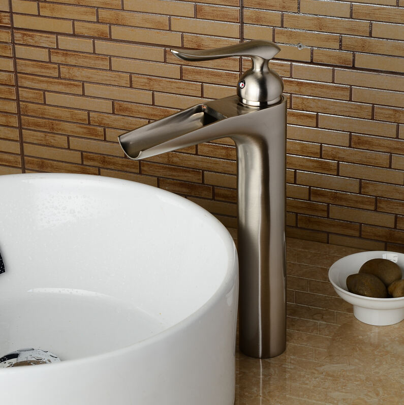 Водопад никель Матовый для ванной кран высокого никеля смеситель для раковины Матовый кран для бассейна раковина кран смесителя