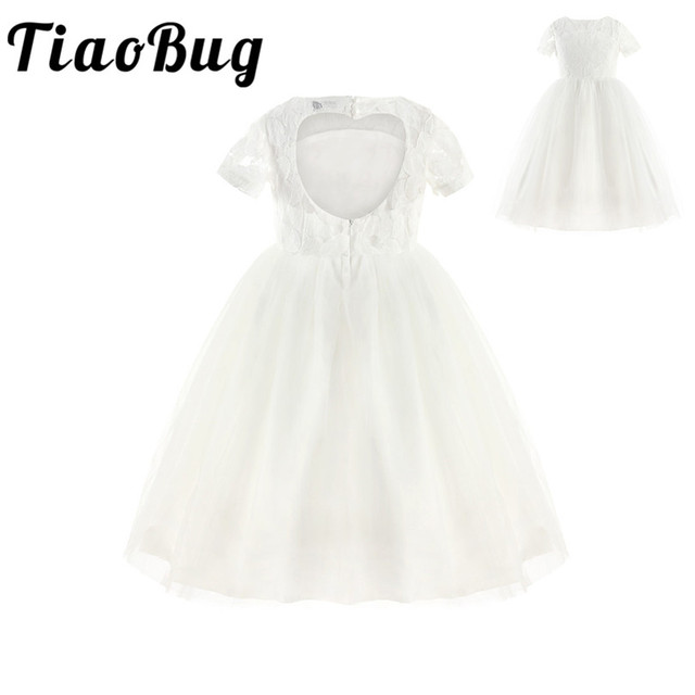 TiaoBug White Flower Girl Dress Princess Pageant Wedding Party Dress Birthday First Communion Ball Gown Lace Flower Girl Dress