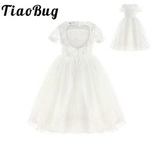 Image 1 - TiaoBugชุดสาวดอกไม้สีขาวปริ๊นเซประกวดพรรคชุดแต่งงานวันเกิดแรกร่วมบอลชุดลูกไม้ชุดสาวดอกไม้