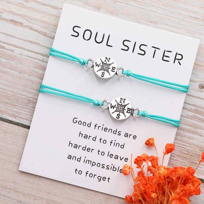 Best Friend Gifts for Her Long Distance Relationship Friendship Compass Bracelet for Him Personalized Couples Bracelet
