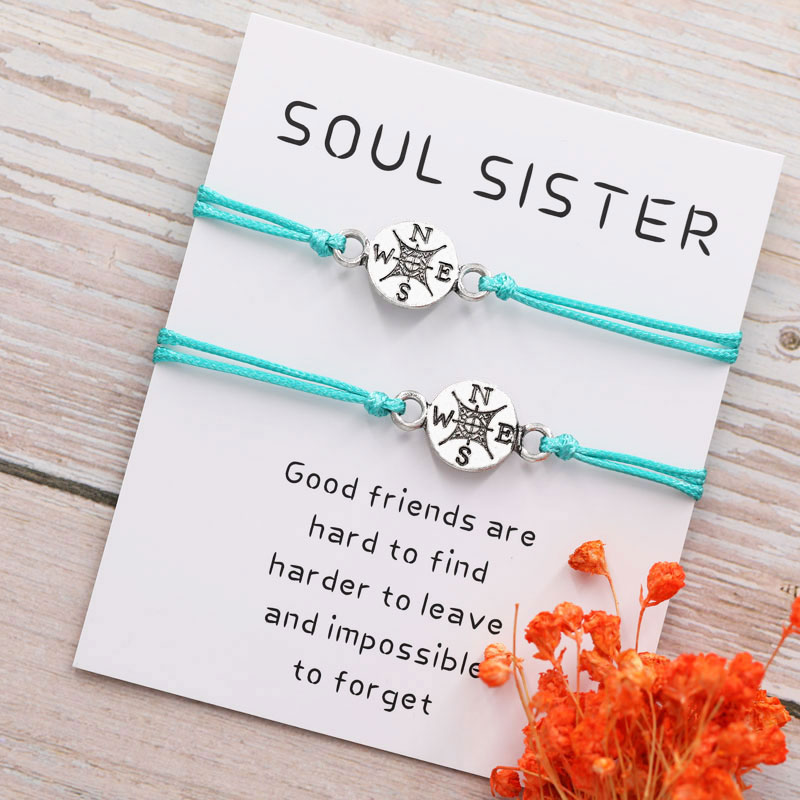 Best Friend Gifts for Her Long Distance Relationship Friendship Compass Bracelet for Him Couples Bracelet(China)