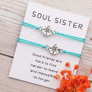Best Friend Gifts for Her Long Distance Relationship Friendship Compass Bracelet for Him Personalized Couples Bracelet(China)