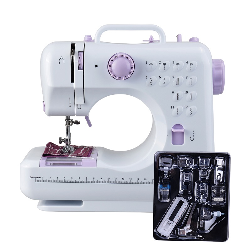 Fanghua Mini 12 Pontos Máquina De Costura do Agregado Familiar Multifuncional Dupla Rosca E Velocidade Free-Braço Crafting Máquina de Remendar