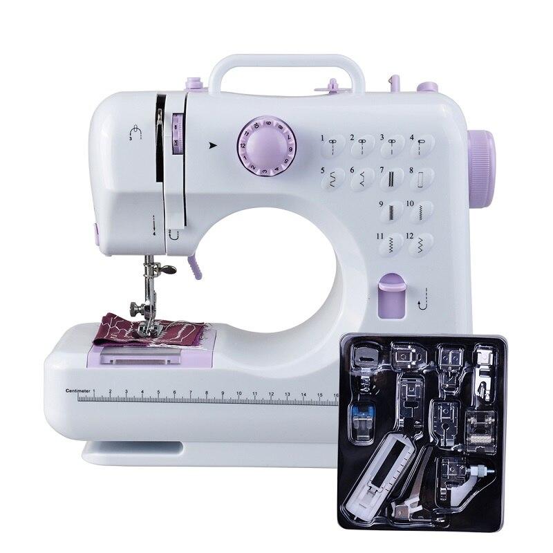 Fanghua Mini 12 puntos máquina de coser multifunción para el hogar doble hilo y máquina de reparación de brazo libre de velocidad