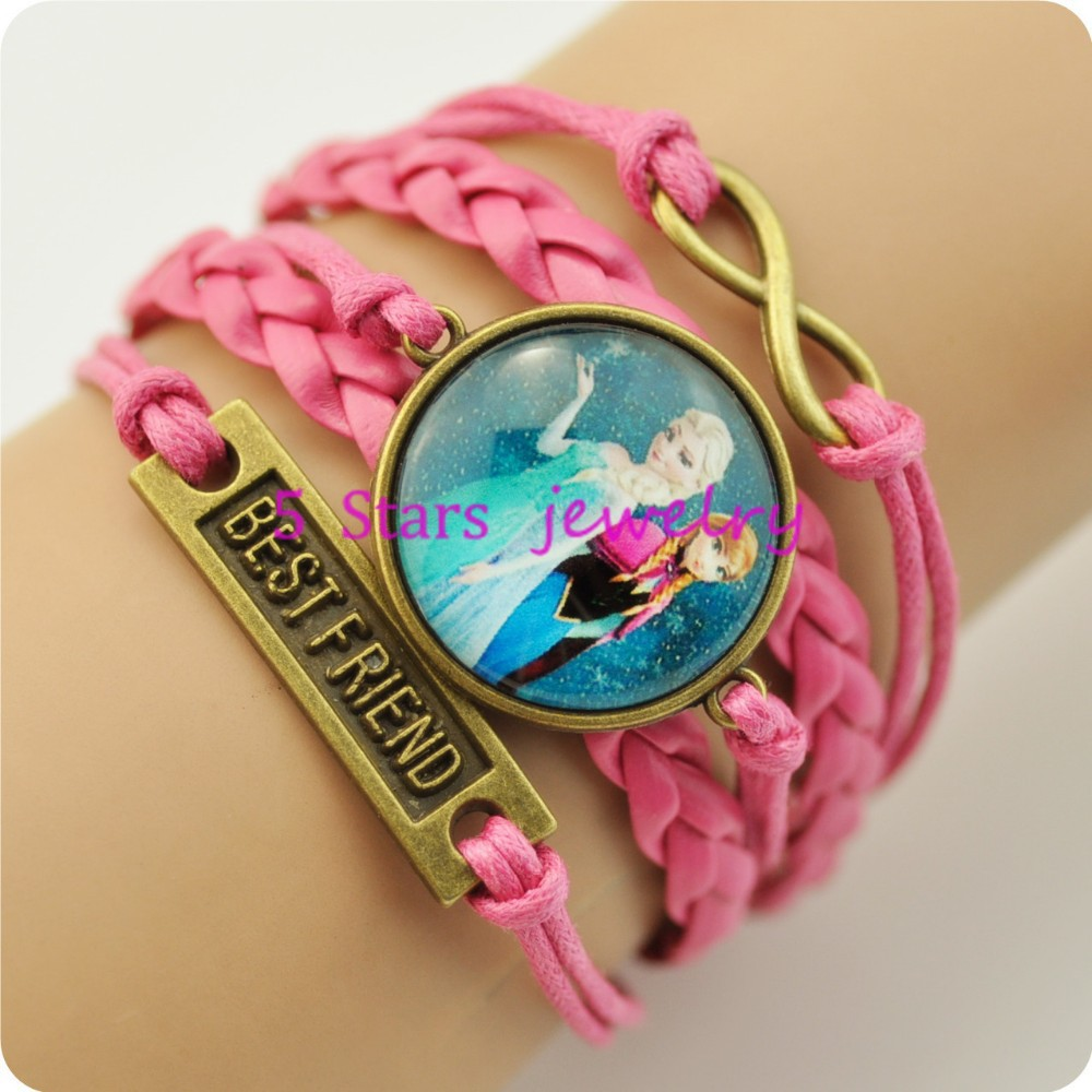 Best Friend Charms Queen Elsa Princess Anna Olaf Braid Leather Bracelet  Wristbands Kids Party Giftin Charm Bracelets From Jewelry & Accessories On