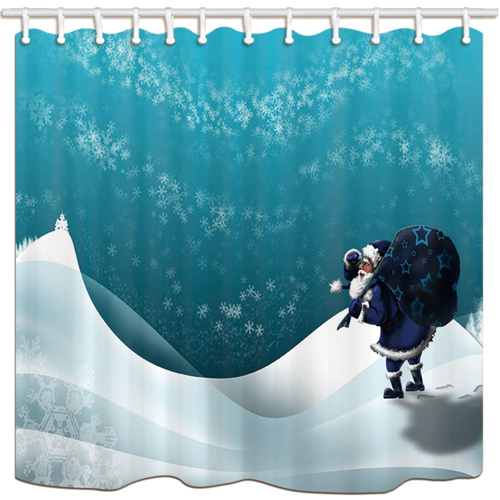 Shower Curtains, Santa Claus With A Bag In Snow, Mildew Resistant Polyester Fabric Bath Curtain, Shower Curtain Set