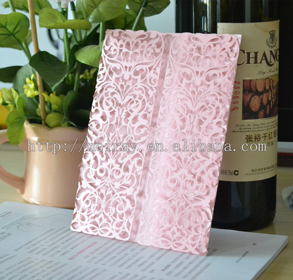 Laser Cut Wedding Cards Orange Invitations With Lace Pink Made In China