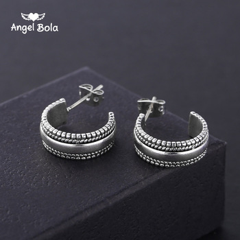 Stud Earing Aretes Jewelry Gifts Boho Ancient Silver Color Hoop Buddha Earrings for Women Trendy Circle Round Small Earring