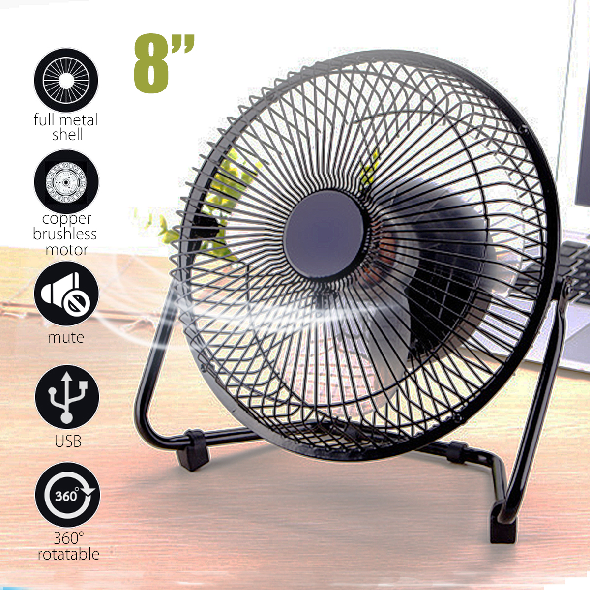 Warmtoo Portable 8'' Metal Electrical 360 Degree Rotatable USB Fan Cooler Rechargeable Battery Desk Fan For Laptop PC цена