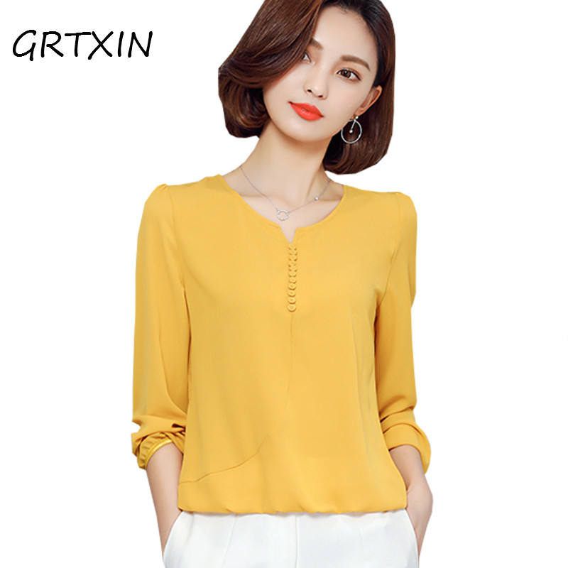 Dynamic Long Sleeve Blouse Shirt Women Clothes 2018 Autumn Korean Style V Neck Solid White/yellow/red/pink Large Size Female Tops Elegant In Style Blouses & Shirts