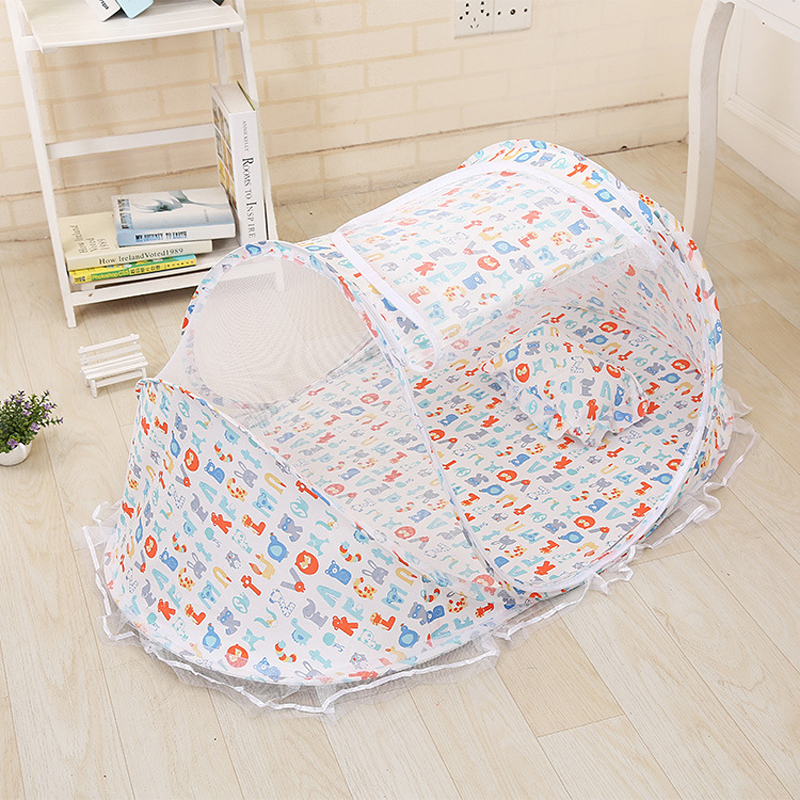Baby Cribs Fabric With Netting Letter Portable Playpen Foldable Baby Bed For Single Infant Bedding Anti mosquito
